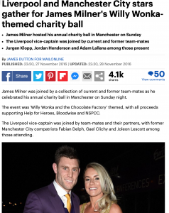 James Milner Foundation Ball 2016